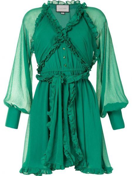 Платье мини на пуговицах с V-образным вырезом с длинными рукавами с манжетами Alexis