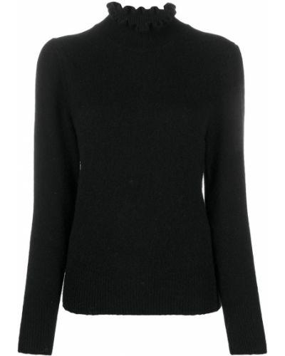 С рукавами шерстяной черный джемпер с опушкой Ba&sh