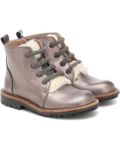 Ażurowy skórzany brązowy buty zasznurować Bonpoint