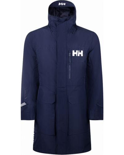 Синяя длинная куртка с капюшоном металлическая Helly Hansen