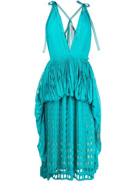 Платье миди с декольте со вставками Marco De Vincenzo