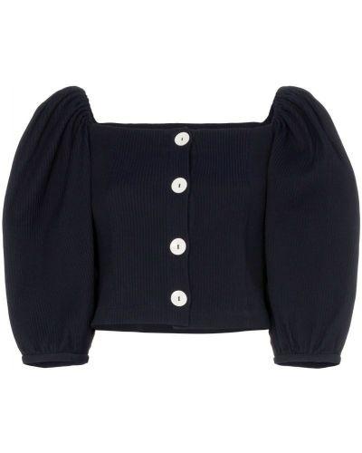 Блузка с пышными рукавами синяя N Duo