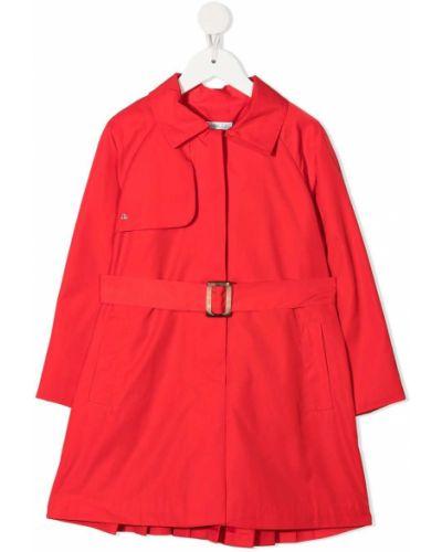 Красное пальто классическое с воротником с поясом Abel & Lula