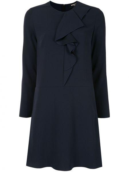 Синее платье мини с оборками с вырезом круглое Paule Ka
