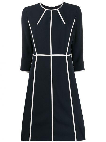 Синее платье с рукавом 3/4 с вырезом на молнии Escada