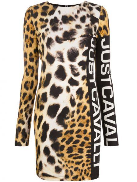 Коричневое платье макси с вырезом из вискозы Just Cavalli