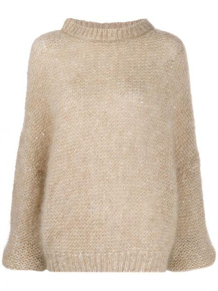Шерстяной свитер крупной вязки в рубчик круглый Brunello Cucinelli