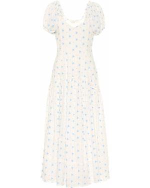 Ватное хлопковое белое платье миди Loveshackfancy