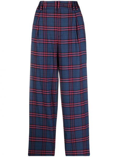 Хлопковые прямые синие брюки Pt01