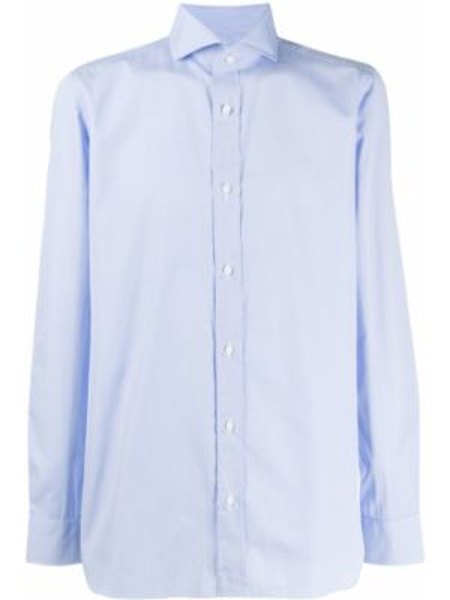 Синяя классическая рубашка с воротником на пуговицах Borrelli