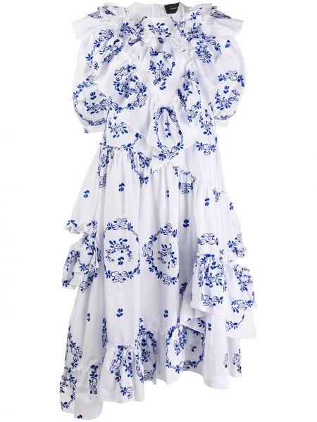 Хлопковое белое платье с круглым вырезом круглое Simone Rocha