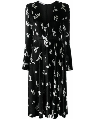 Расклешенное черное бархатное платье макси с V-образным вырезом Philosophy Di Lorenzo Serafini