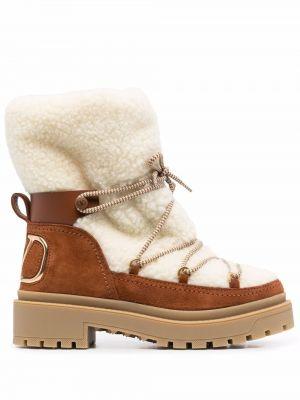 Кожаные ботинки - коричневые Valentino Garavani