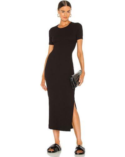 Трикотажное черное платье-рубашка для полных Lna
