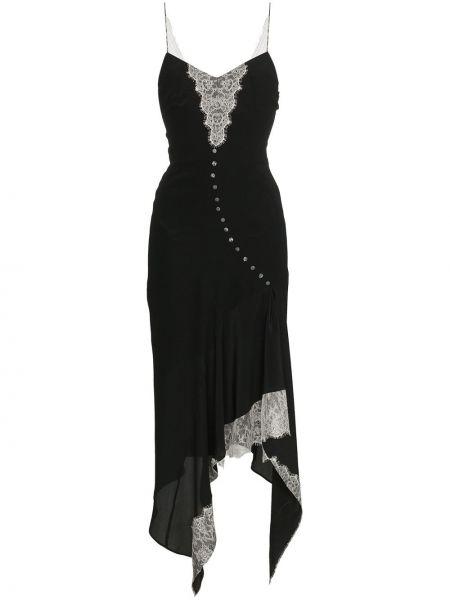 Шелковое черное ажурное платье на бретелях Olivier Theyskens
