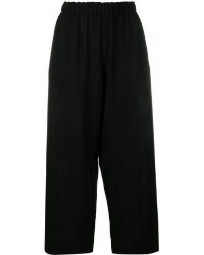 Шерстяные черные укороченные брюки с поясом свободного кроя Daniela Gregis