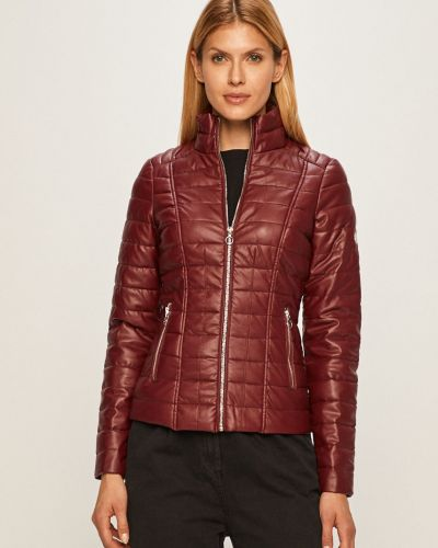 Кожаная куртка с капюшоном стеганая Morgan