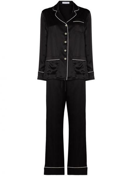 Черная шелковая пижама на пуговицах Olivia Von Halle