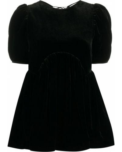 Шелковая черная блузка с вырезом круглая Cecilie Bahnsen