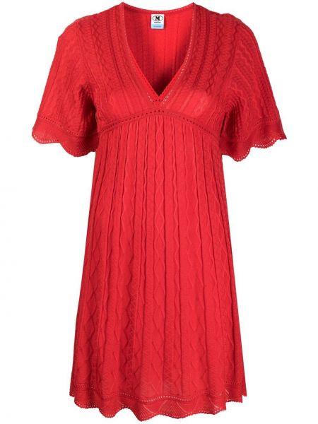 Шерстяное красное платье миди с короткими рукавами Missoni