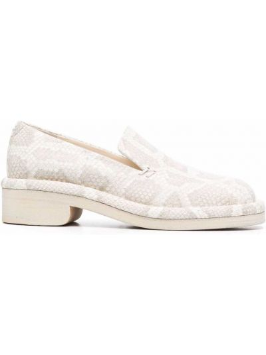 Loafers skorzane z printem na obcasie Nicholas Kirkwood