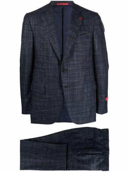 Niebieski lniany garnitur Isaia