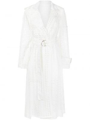 Biały płaszcz wełniany z siateczką Sacai