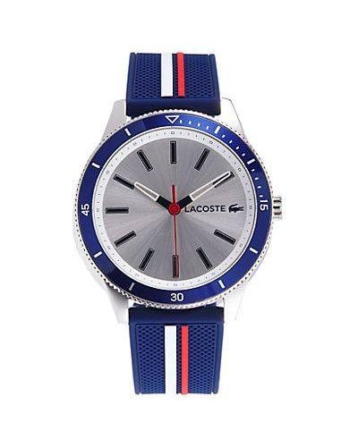 Czarny zegarek kwarcowy srebrny w paski Lacoste