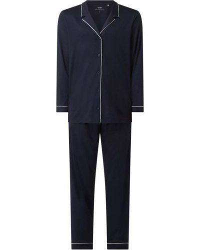 Niebieska piżama bawełniana z długimi rękawami Calida