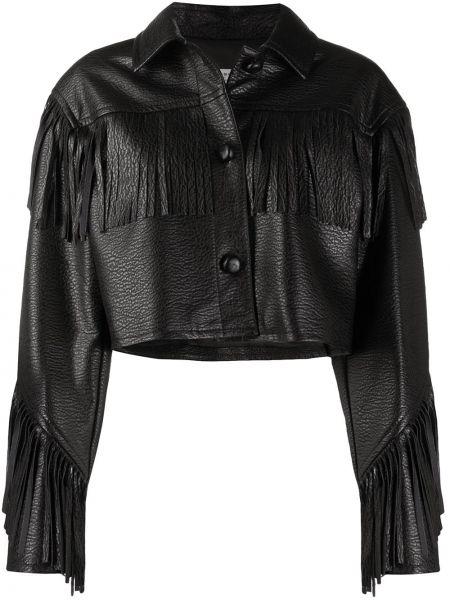 С рукавами черная короткая куртка с бахромой Philosophy Di Lorenzo Serafini