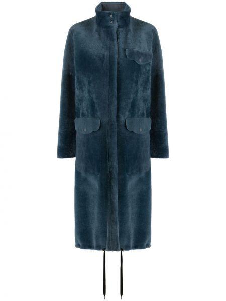 Синее кожаное длинное пальто с воротником Inès & Maréchal