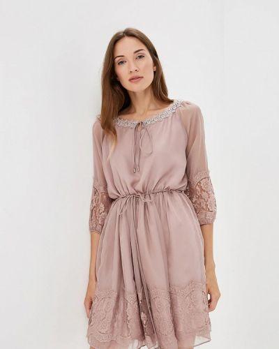 Бежевое платье с длинными рукавами Lusio