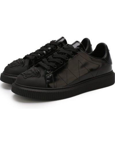 Черные кеды кожаный Versace