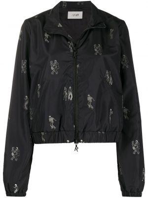 Czarna długa kurtka z długimi rękawami z wiskozy Kirin