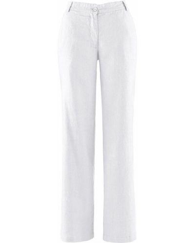 Свободные брюки льняные белые Bonprix