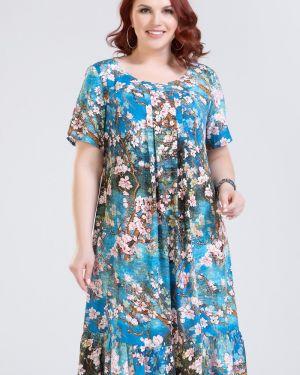 Летнее платье с оборками с кокеткой из вискозы круглое прима линия