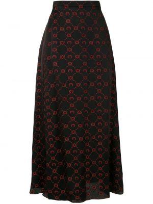 Шелковая юбка макси - черная Marine Serre