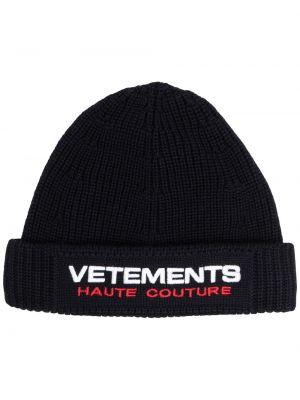 Шерстяная шапка бини - синяя Vetements