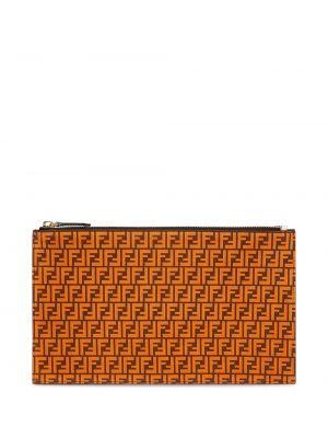 Оранжевый кожаный сумка среднего размера на молнии Fendi