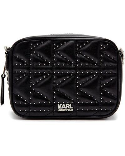 Кожаная сумка через плечо с заклепками Karl Lagerfeld