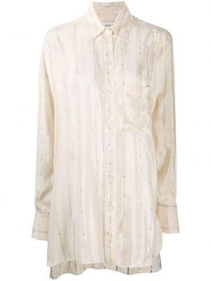 Шелковая классическая рубашка в полоску с воротником Lanvin