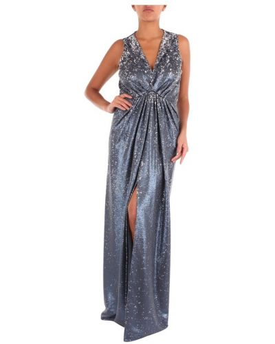 Niebieska sukienka długa srebrna Maesta