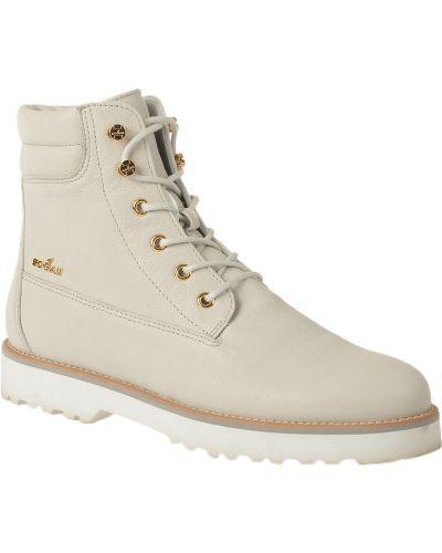 Кожаные ботинки - белые Hogan