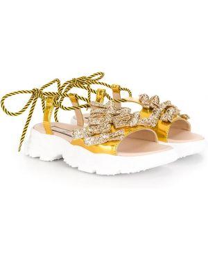 Sneakersy białe z brokatem N°21