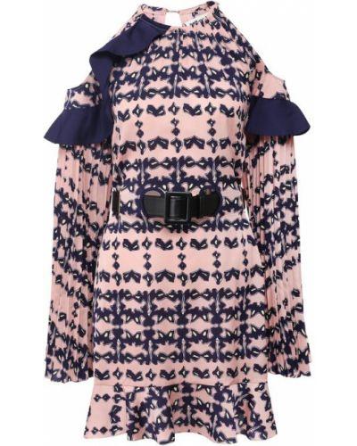Платье мини с открытыми плечами с поясом Self-portrait