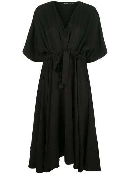 Черное платье с V-образным вырезом на молнии из вискозы Natori