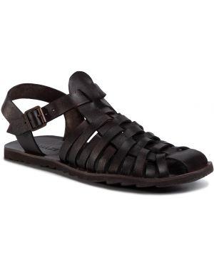 Sandały skórzane - brązowe Quazi