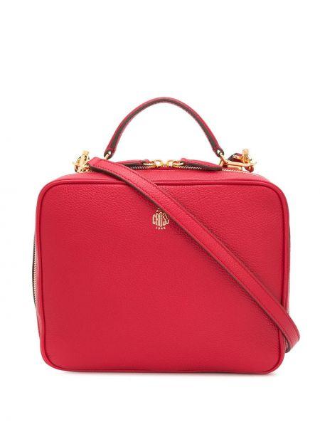 Кожаная золотистая красная кожаная сумка круглая Mark Cross