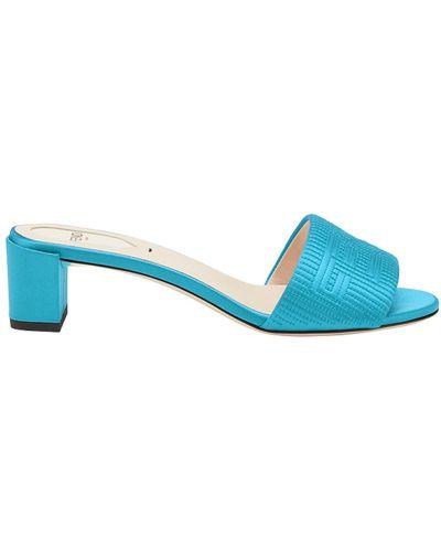 Синие сандалии высокие Fendi