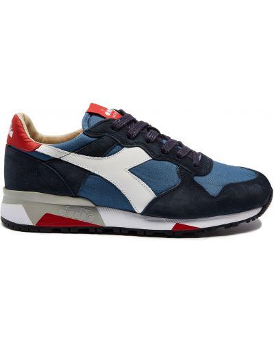 Теннисные синие кожаные кроссовки Diadora